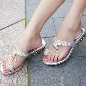 Luxury Silver Crystal Engraved Party Sandals