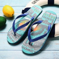 Alphabetic Prints Beach Wear Rubber Flip Flops - Blue