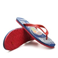 Alphabetic Prints Beach Wear Rubber Flip Flops - Red
