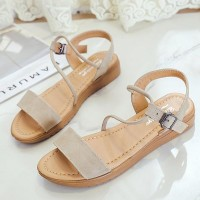 Rope Strap Buckle Closure Flat Sandals - Beige