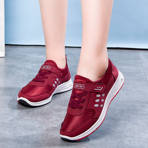 Sports Wear Laced Up Velcro Sneakers - Burgundy