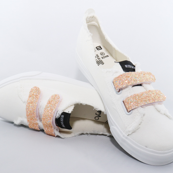 Shiny Apricot Glittered Smooth White Sneakers