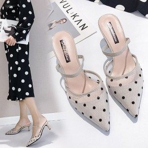 Pointed Dotted High Heels Sandals - White