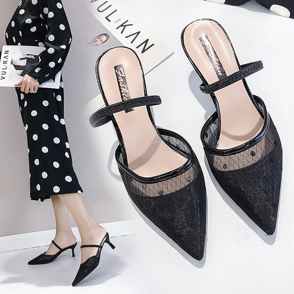 Pointed Dotted High Heels Sandals - Black