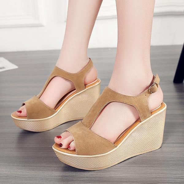 Quality T Strap Wedge Khaki Sandals