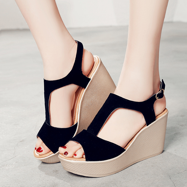 Quality T Strap Wedge Black Sandals