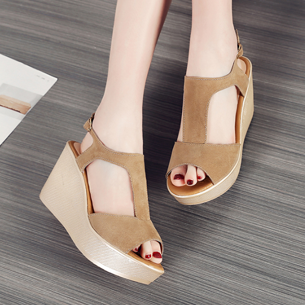 Quality T Strap Wedge Burgundy Sandals