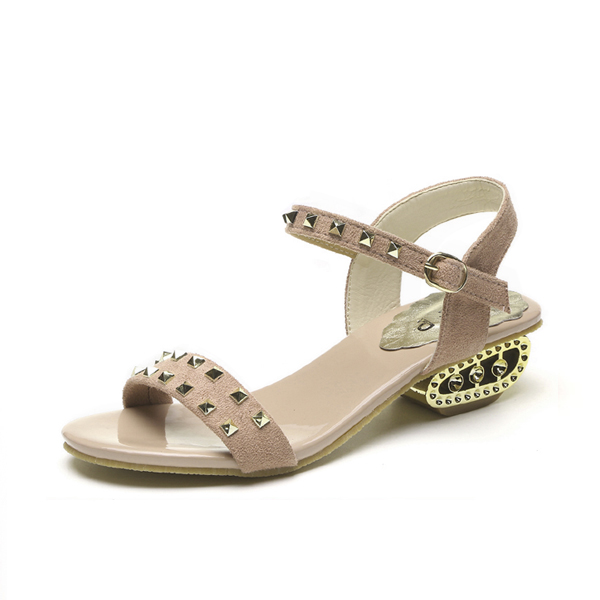Strappy Rhinestone Decorated Khaki Party Sandals