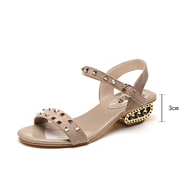 Strappy Rhinestone Decorated Khaki Party Sandals