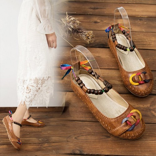 Beads Decorative Soft Flat Sandals - Brown