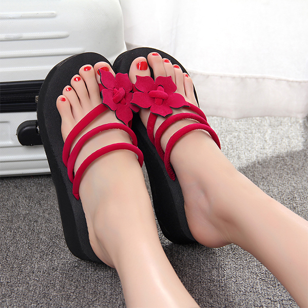 Floral Patched String Thick Bottom Sandals - Hot Pink