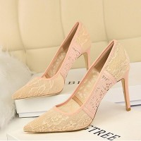 Breathable Mesh Lace Female Ultra High Heel - Apricot