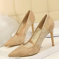 Breathable Mesh Lace Female Ultra High Heel - Khaki
