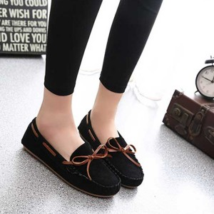 Butterfly Knot Fashion Women Comfortable Flat Shoes Black
