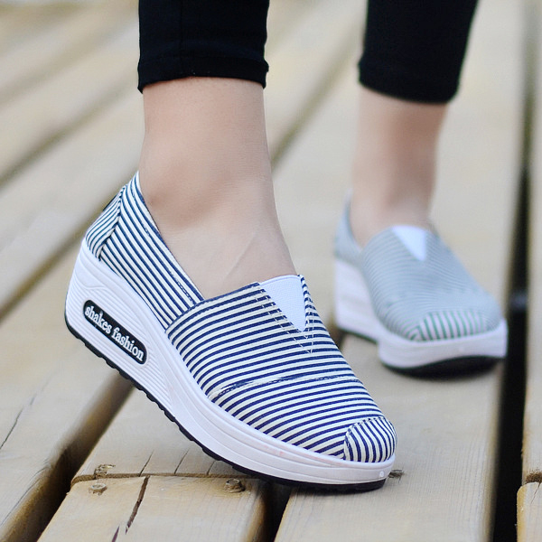 Thick Sole Striped Casual Slip Over Sneakers