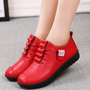 Rubber Sole Comfortable Synthetic Leather Shoes - Red