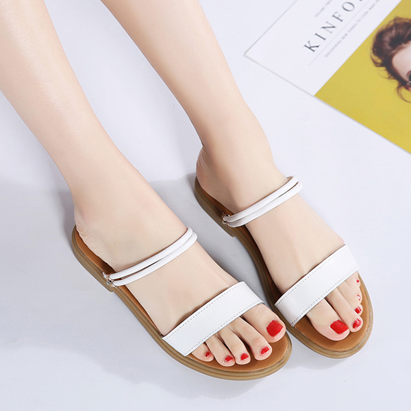 Flat Slip On Synthetic Leather Casual Sandals - White