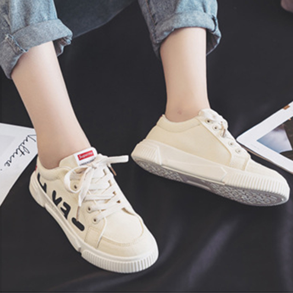 Thick Sole Flat Casual Running Female Shoes - Beige