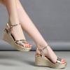 High-Heeled Golden Strap Sandals For Women