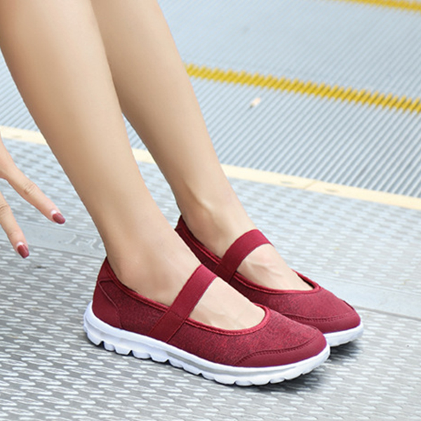 Elastic Fit Flat Soft Sole Canvas Shoes - Red