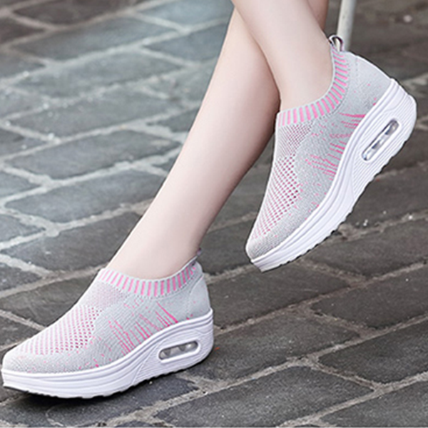 Women Summer Breathable Cool Fabric Gray Shoes