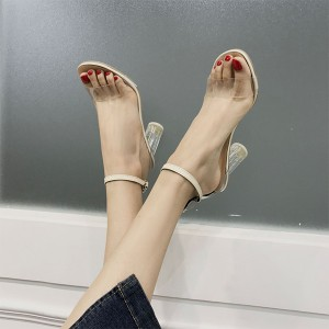 Transparent Midi Heel Contrast Summer Sandals - Beige