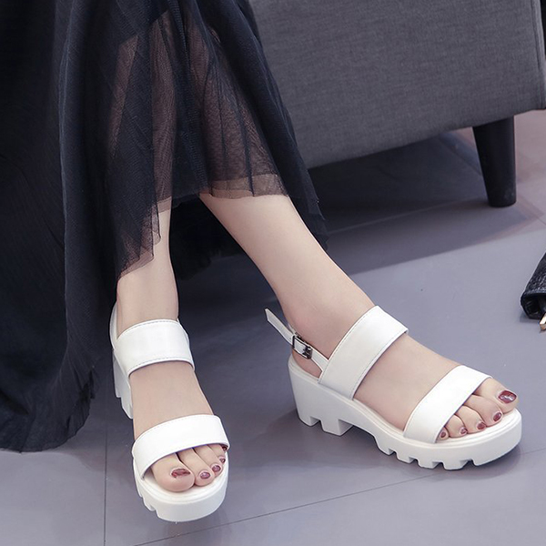 Thick Bottom Buckle Strapped Women Sandals - White