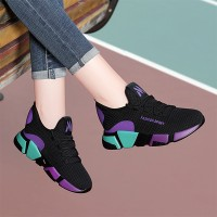 Mesh Contrast Soft Canvas Breathable Sports Shoes - Purple