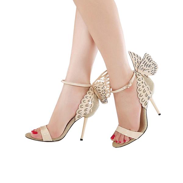 Roman Hollow Butterfly High Heel Sandals Buckle Shoes Golden