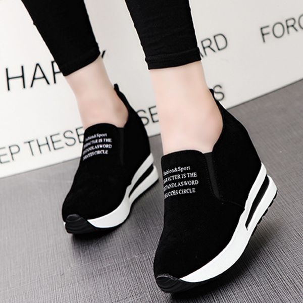 Thick Bottom Canvas Formal Sneakers - Black