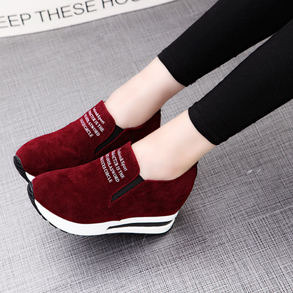 Thick Bottom Canvas Formal Sneakers - Burgundy