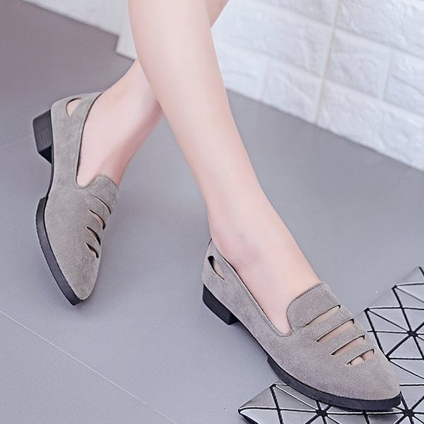 Cut Out Canvas Flat Party Wear Shoes - Grey