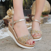 Glittered Heavy Bottom Strappy Sandals - Golden