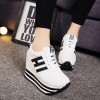 Thick Bottom Synthetic Leather Soft Casual Shoes - White