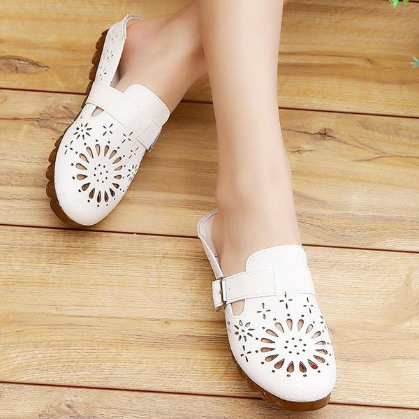 Hollow Bohemian Style Buckle Summer Shoes - White