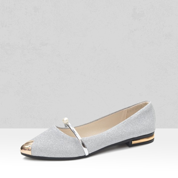 Glittered Pointed Low Bottom Silver Shoes