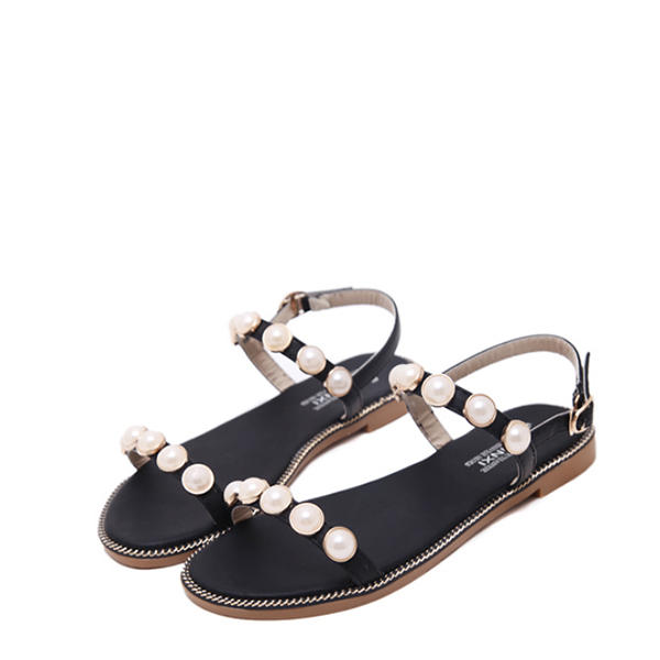 Black Pearl Flat Party Wear Sandals