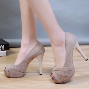 Pleated High Heels Suede Party Wear Sandals - Khaki