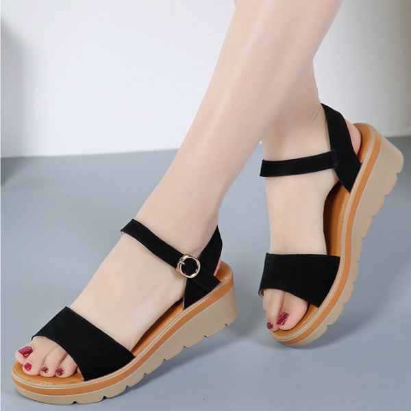 Suede Leather Flat Sandals Low Heel Wedges Black