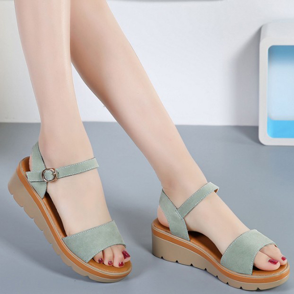 Suede Leather Flat Sandals Low Heel Wedges Green