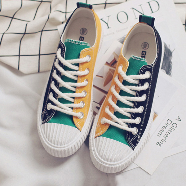 Yellow Blue Duo Contrast Flat Casual Sneakers