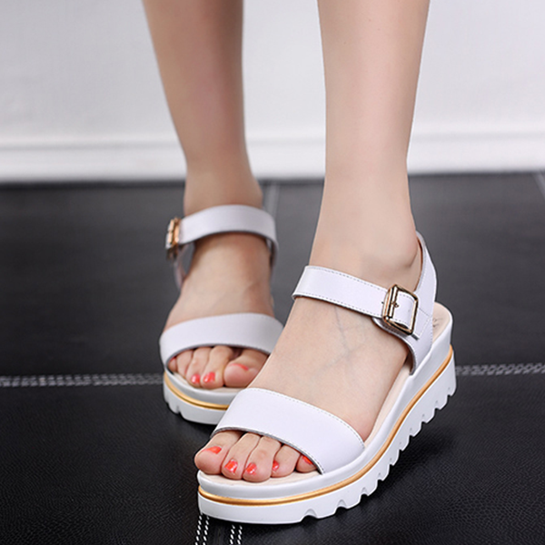 Ladies Fish Head Style Leather Flat Sandals White
