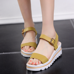 Ladies Fish Head Style Leather Flat Sandals Yellow
