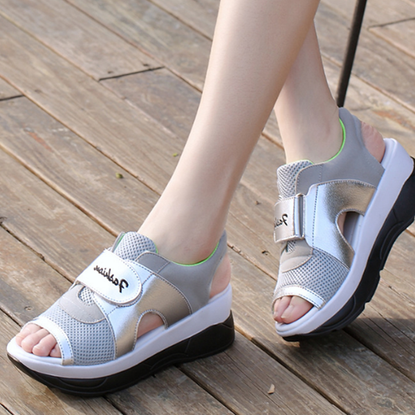 Summer Ladies High Platform Sandals Very Comfortable Gray Silver