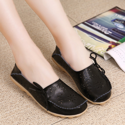 Stylish Women Genuine Leather Loafers Floral Flat Shoes Black