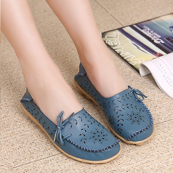 Stylish Women Genuine Leather Loafers Floral Flat Shoes Blue