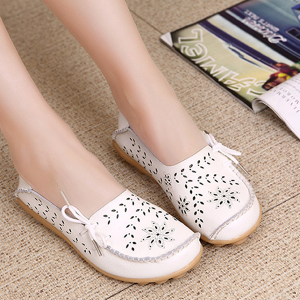 Stylish Women Genuine Leather Loafers Floral Flat Shoes White