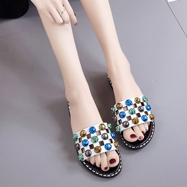 Colorful Rhinestone Decorated Flat Sandals - White