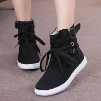 Boot Style Buckle Belt Flat Sneakers - Black