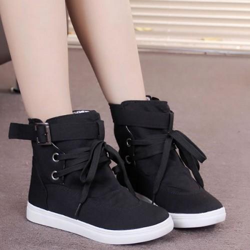 Boot Style Buckle Belt Flat Sneakers - Black